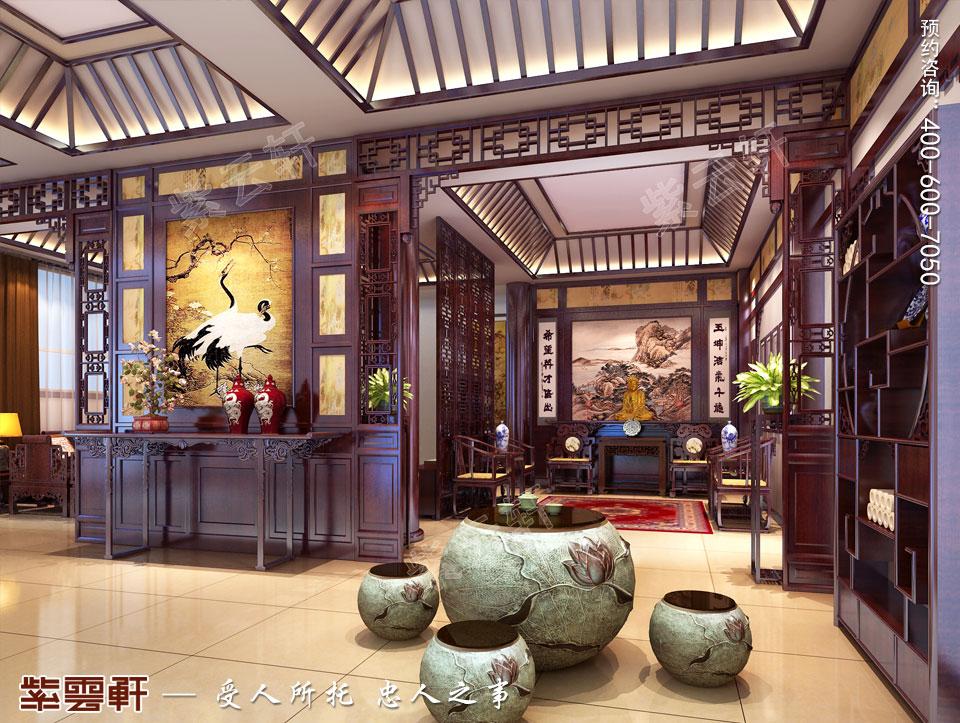 别墅门厅中式古典装修图