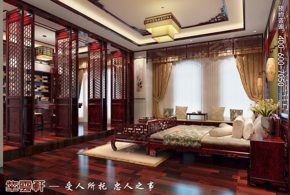 简约古典中式风格别墅装修主卧图片