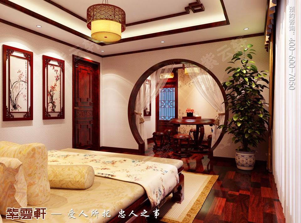 简约古典中式风格别墅装修老人房图片