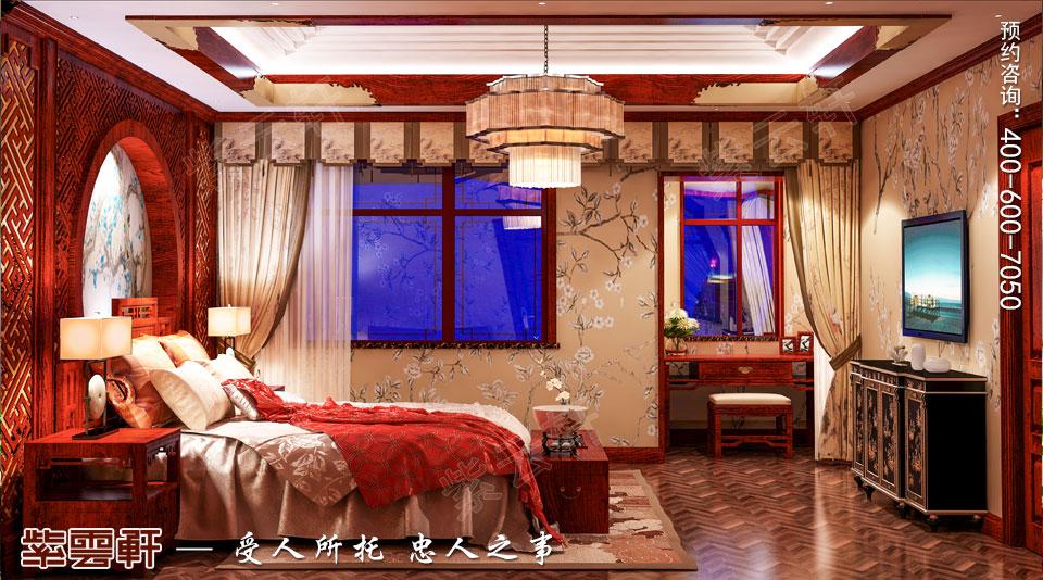 新中式风格别墅装修主卧效果图