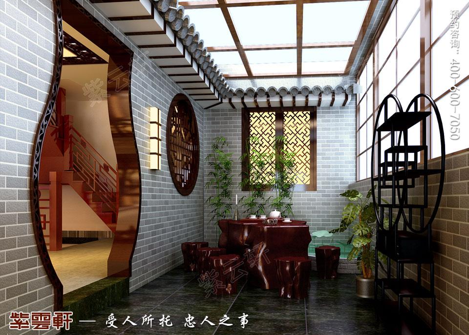 简约古典中式风格别墅华厅装修效果图