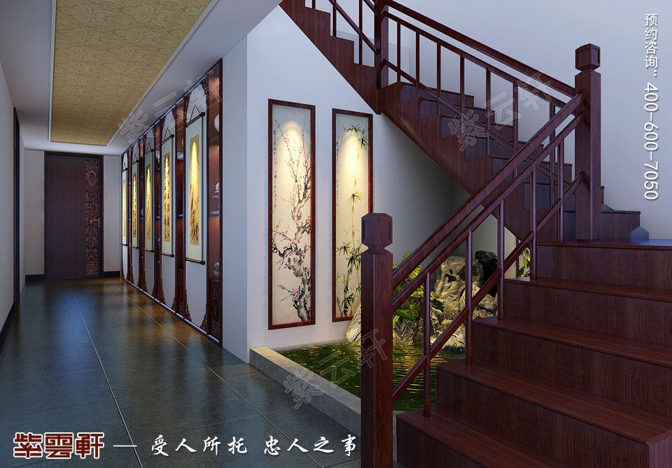 别墅过道现代中式风格装修效果图