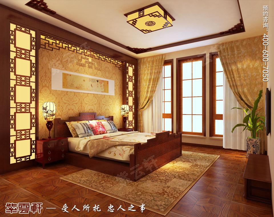 简约古典中式风格别墅主卧装修效果图