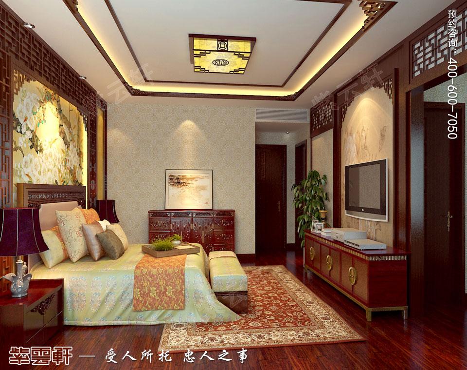 别墅老人房现代中式风格装修效果图