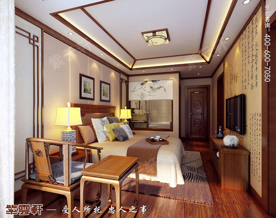 别墅主卧现代中式风格装修效果图