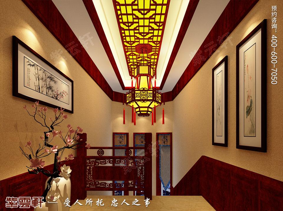 别墅楼梯间古典中式装修效果图