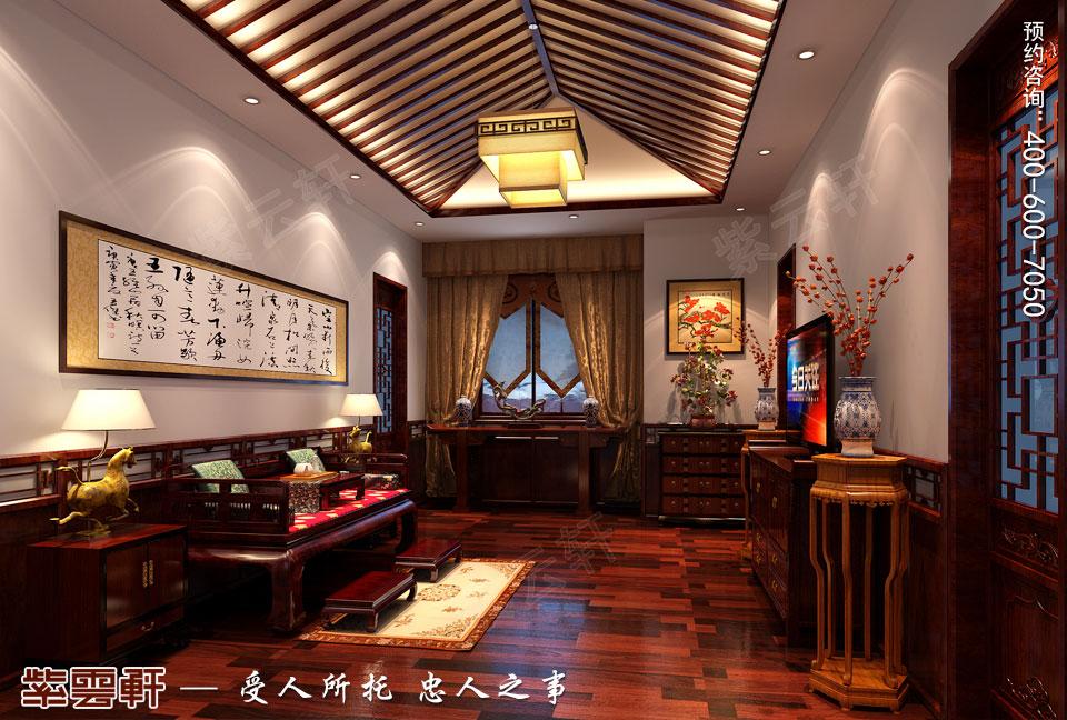 别墅起居室古典中式装修效果图