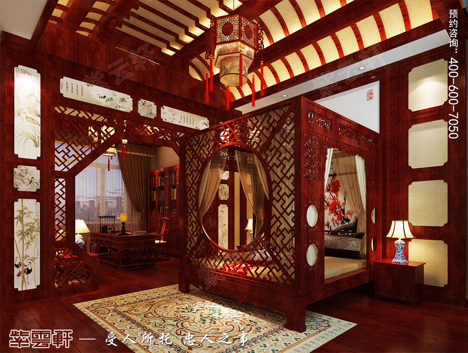 别墅主卧室古典中式装修效果图