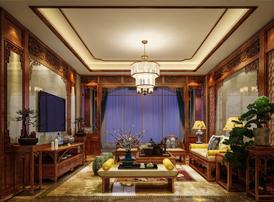 淮安别墅古典中式风格装修效果图 唤取九霞飞佩,夜凉跨鹤吹笙