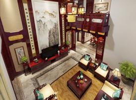 即墨独栋别墅简约古典中式装修效果图 琼壶歌月,长歌倚楼