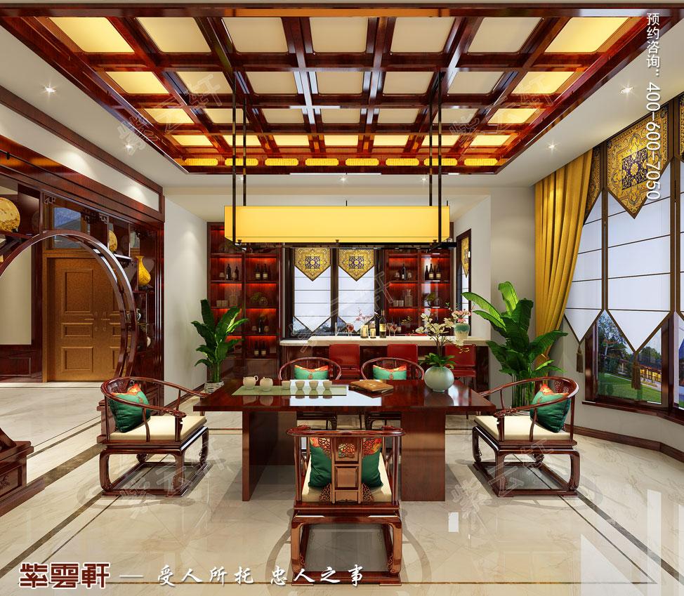 别墅茶室吧台中式装修效果图