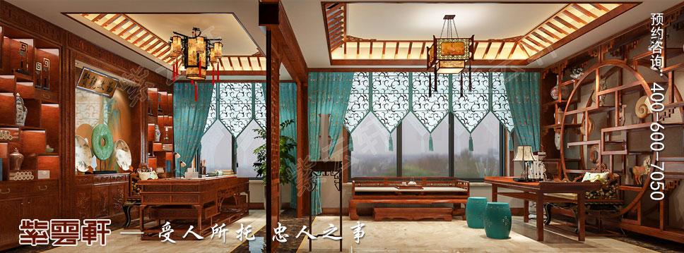 别墅主卧书房简约古典中式装修效果图