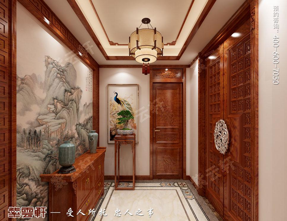别墅三层门厅简约古典中式装修效果图