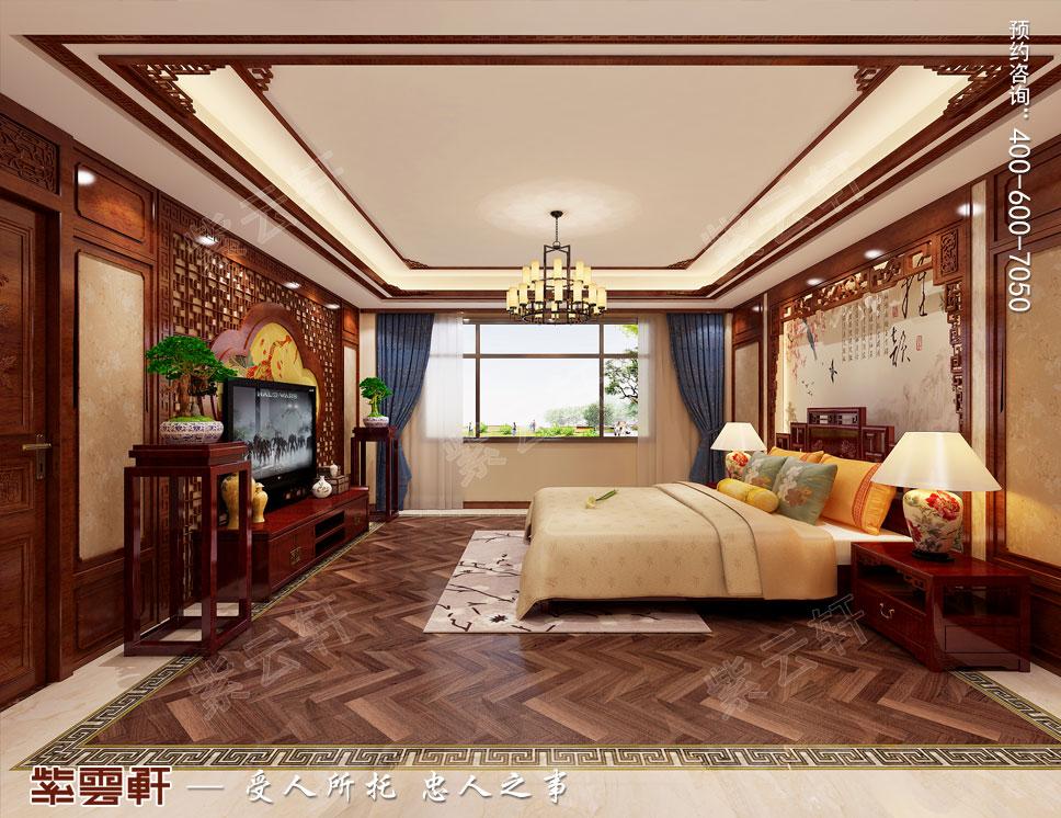 别墅主卧起居室简约古典中式装修效果图,时尚造型的沙发和双层圆桌构图片