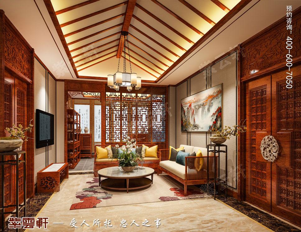 别墅主卧起居室简约古典中式装修效果图