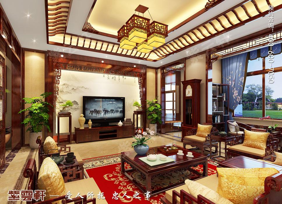 别墅客厅简约古典中式装修效果图