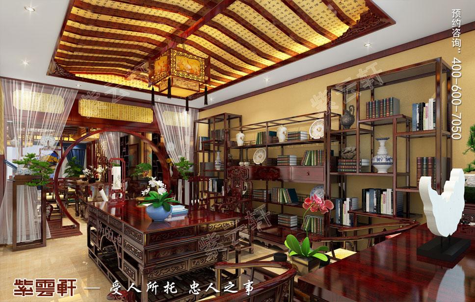 别墅书房古典中式装修图