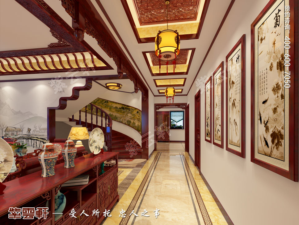 别墅走廊现代中式装修效果图