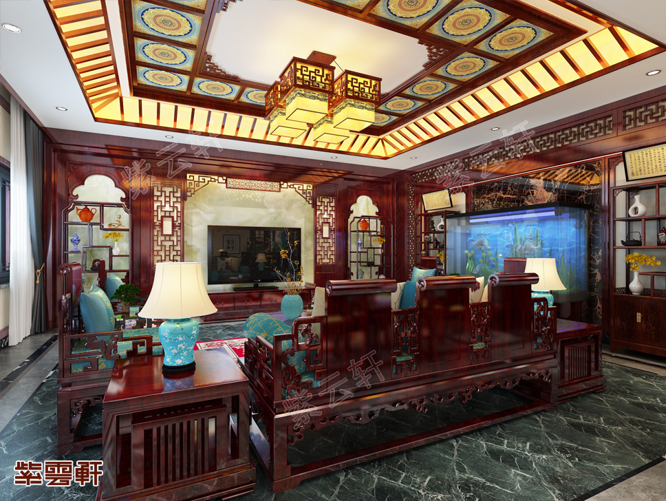 西安王总别墅古典中式装修效果图 秀致典雅 蕴藉光华