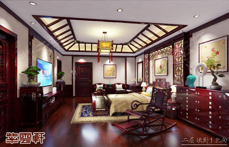 安徽芜湖市别墅中式装修效果图 白茶清欢 瑰丽淡雅