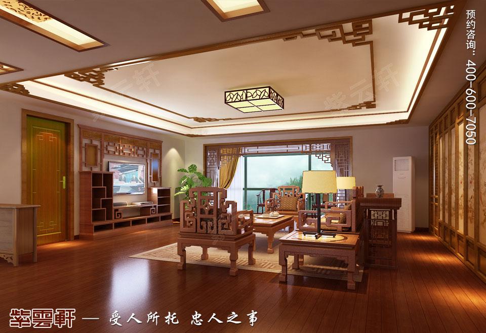 复式楼现代中式装修客厅效果图