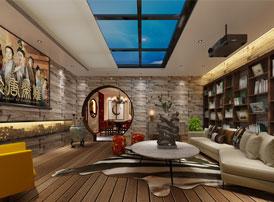 中式效果图之经典的中式书房设计