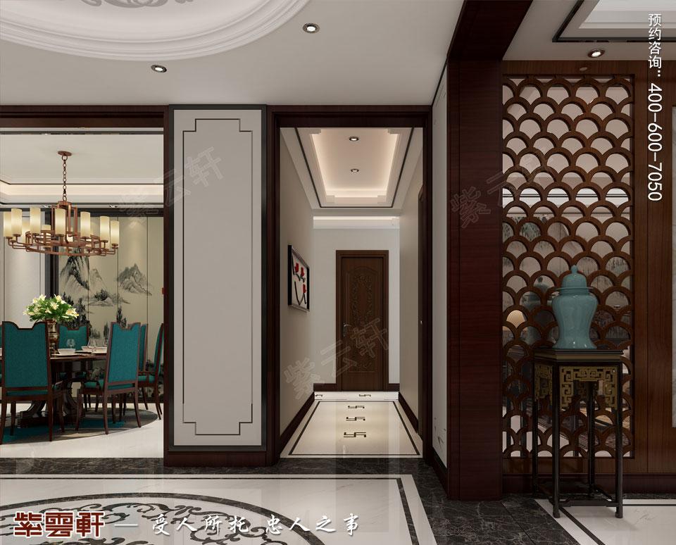 新中式复式楼过道效果图