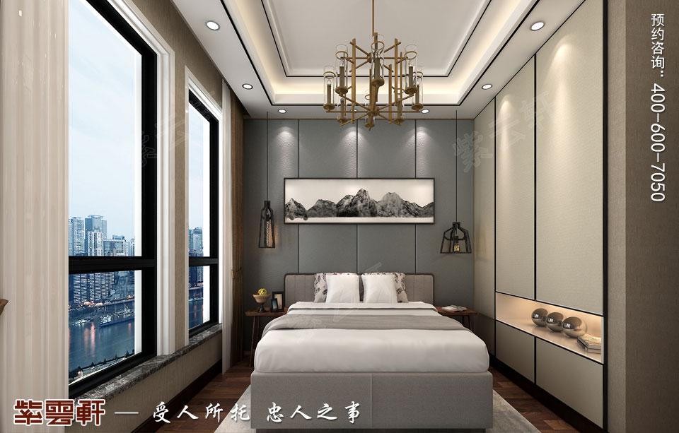 新中式复式楼次卧效果图