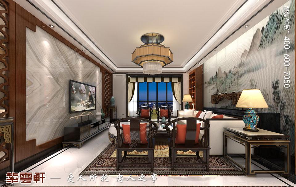 新中式复式楼客厅效果图