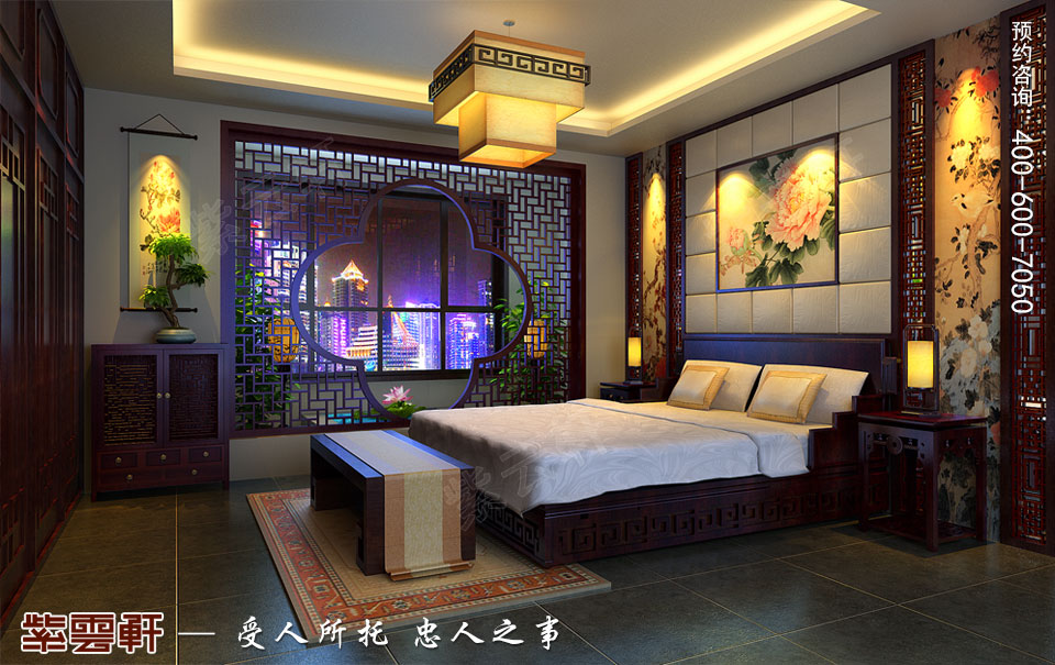 次卧室简约复古中式风格效果图