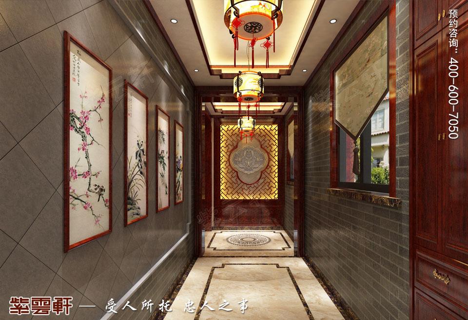 复式楼现代中式装修门厅效果图