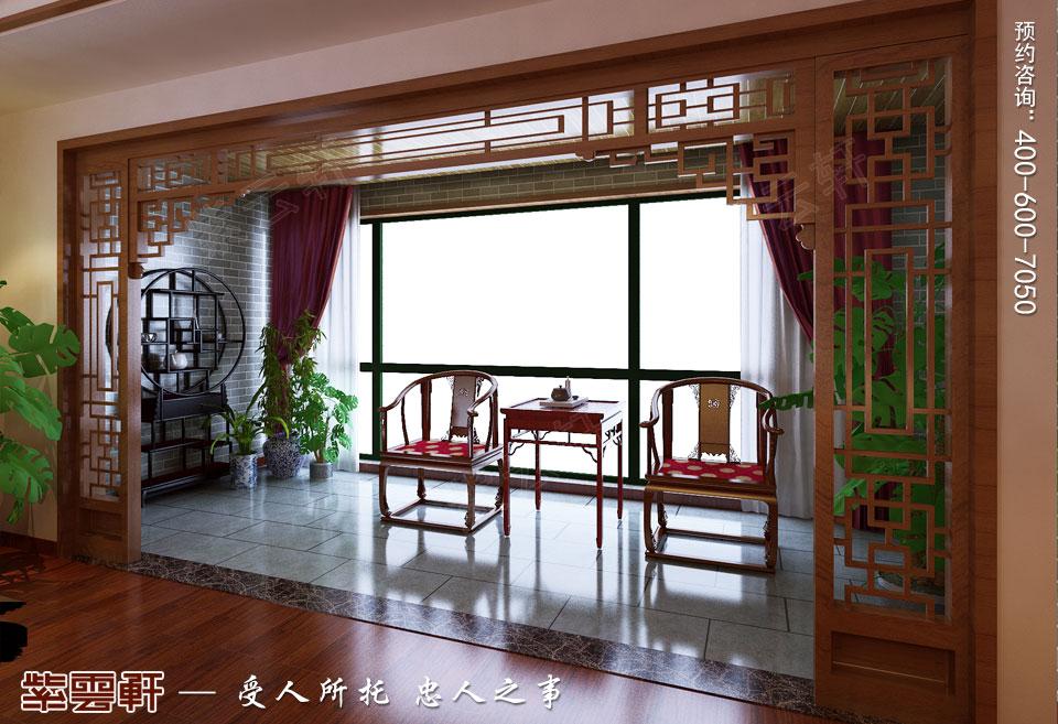 复式楼现代中式装修阳台效果图