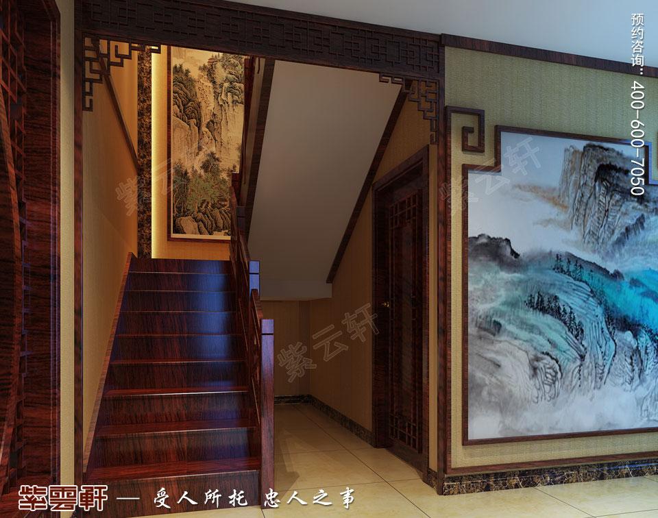 复式楼简约古典中式楼梯间装修效果图