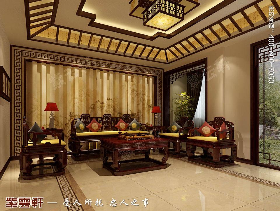复式楼客厅现代中式装修效果图