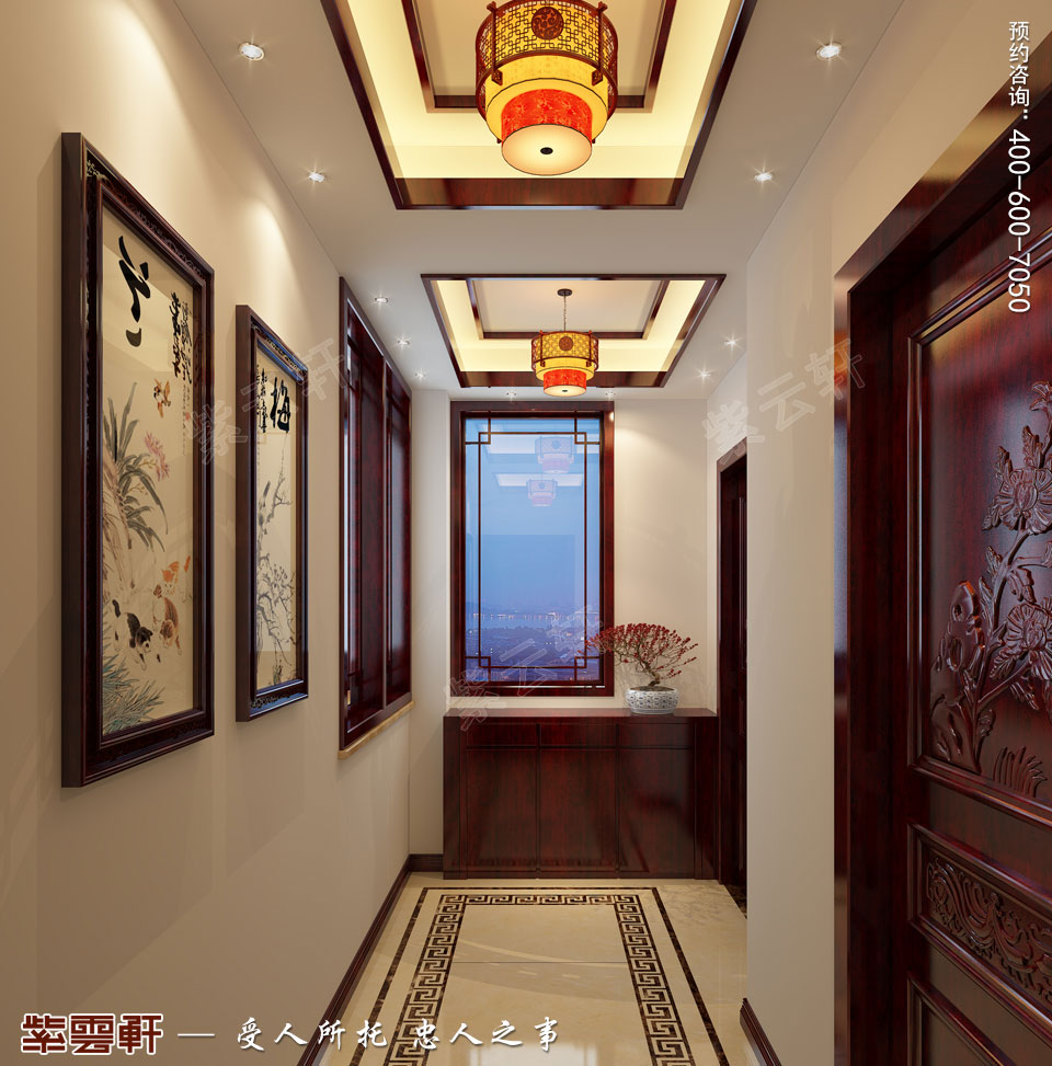 简约中式装修走廊效果图