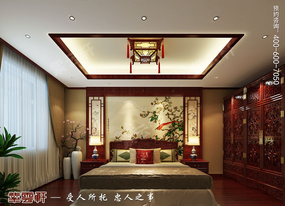 复式楼大宅卧室新中式风格装修图片