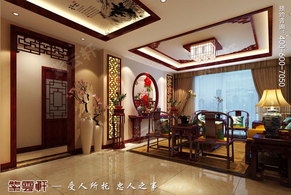 复式楼大宅客厅新中式风格装修图片