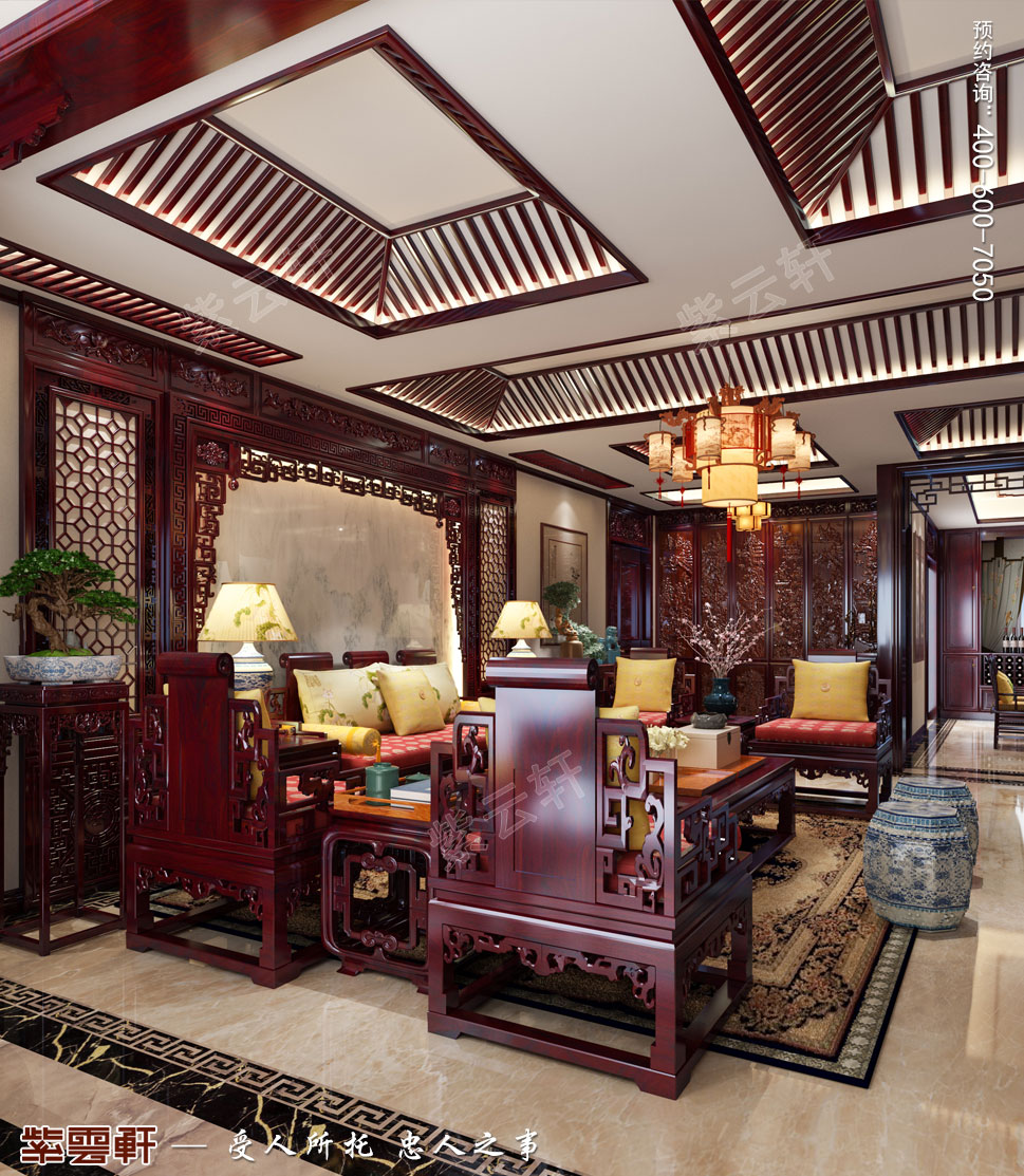 中式效果图-客厅