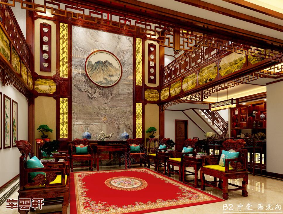 辽宁大连王总复式楼中式装修效果图 美轮美奂 气派极了