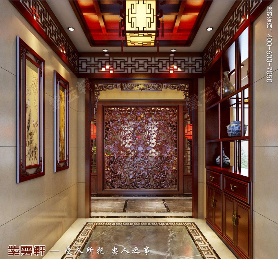 豪宅门厅古典中式装修风格设计
