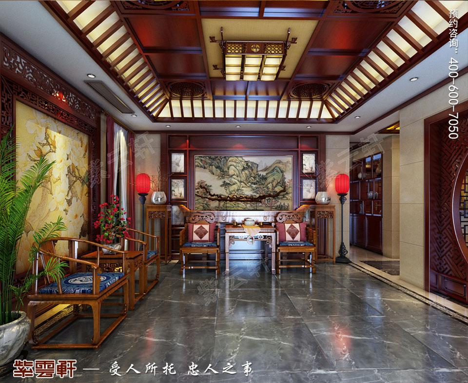 豪宅过厅古典中式装修风格设计