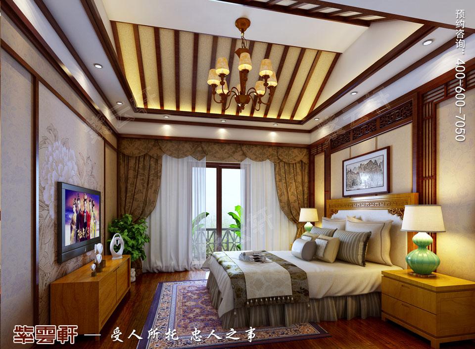 豪宅二层主卧室古典中式装修风格设计
