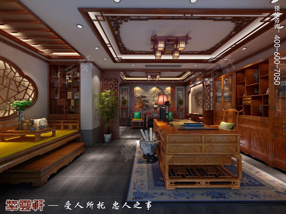 豪宅负一层书房古典中式风格装修