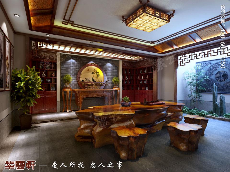 豪宅负一层品鉴室古典中式风格装修