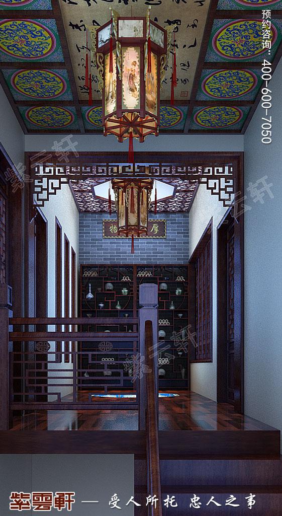 别墅中式装修楼梯间效果图