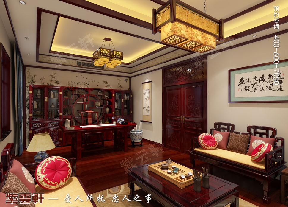 郑州豪宅书画室古典中式装修效果图