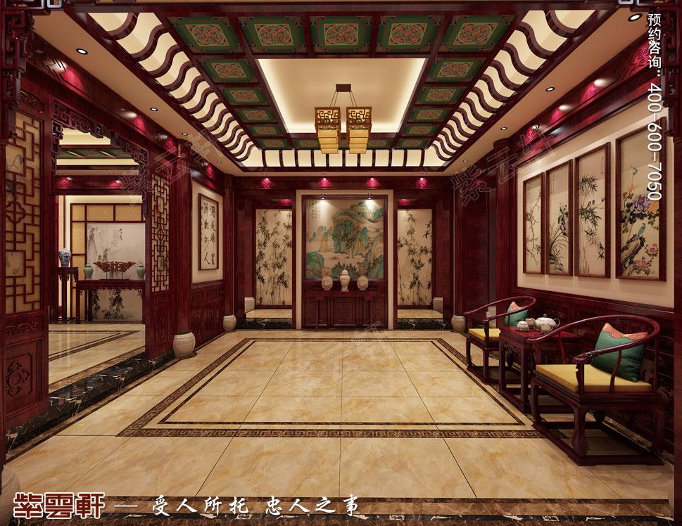 郑州豪宅门厅古典中式装修效果图