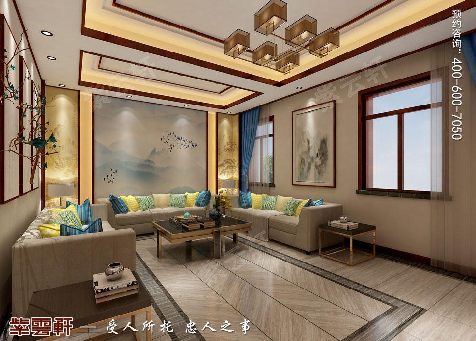 郑州豪宅起居室古典中式装修效果图