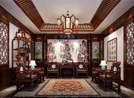 成都四合院豪宅中式装修效果图  青山碧水掩映古典风华