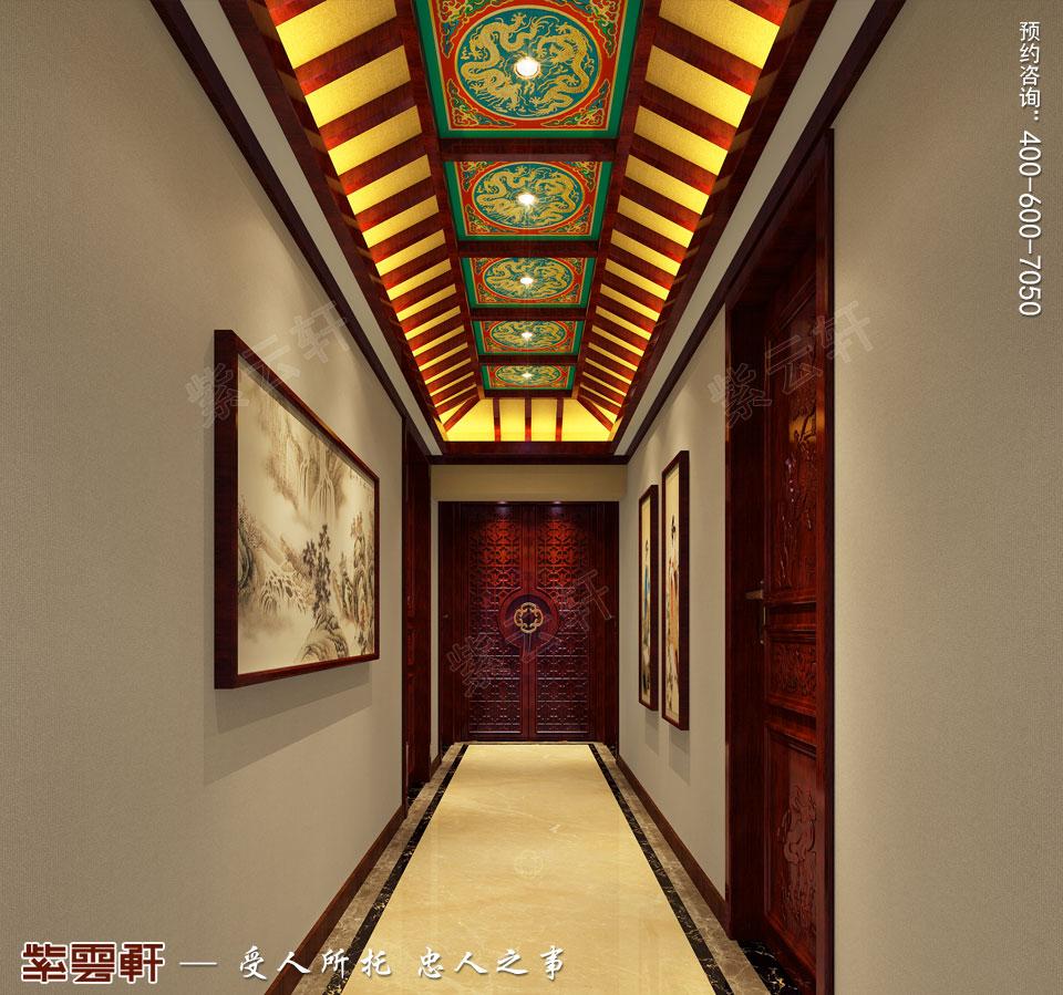 中式宫廷风过道效果图